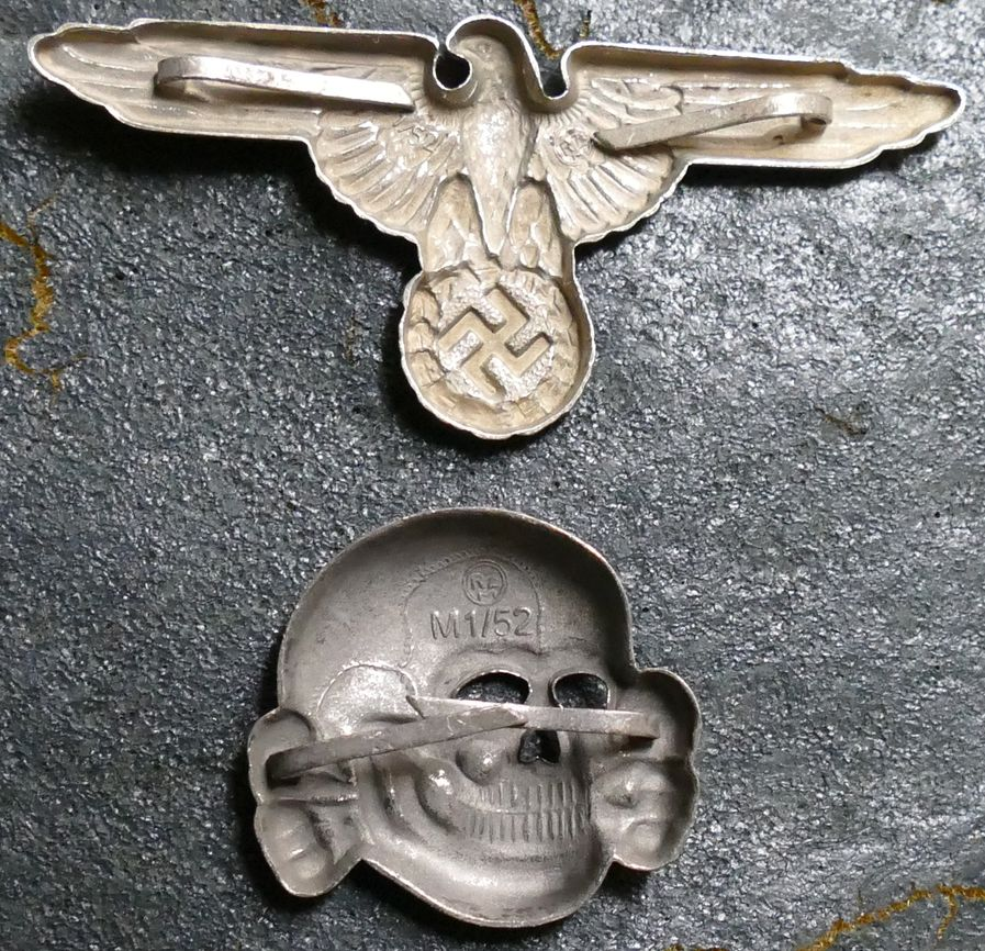 ee8688ee998 WAFFEN-SS CAP INSIGNIA eagle or skull. Cap set to the left non-antiqued is   25.00. Cap set to right antiqued  35.00