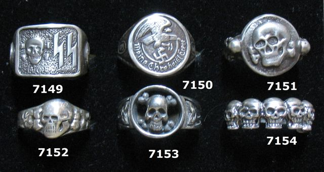 7150 WAFFEN SS OFFZ RING ALL SIZES AVAILABLE 7151 TOTENKOPF W SKULL ON EACH SIDE 7152